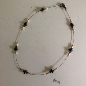 Navy Blue and Gold Beaded Necklace